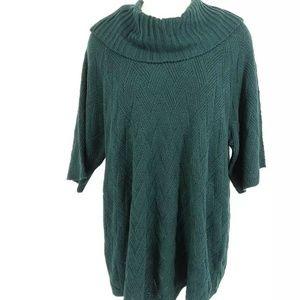 Avenue Women's Sweater 26 28 Teal Herringbone Weav